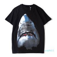 패션 - 럭셔리 남성 디자이너 T 셔츠 디자이너 캐주얼 반팔 패션 상어 인쇄 높은 품질 남성 여성 힙합 티셔츠