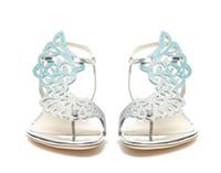 Горячие Продажа-Sophia Webster кристалл бабочки плоские сандалии женщин шлепки крылья ангела стринги плоские ботинки женщин летние каблуки платье сандалии