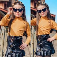 Sevimli Çocuk Kız Bebek Giyim Örme Triko Üst + Ruffles Deri Etek Kıyafetler Seti