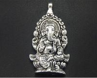 20pcs Antique Silver Plated Религия Таиланд Ганеш Будды Подвеска Подвеска для изготовления ювелирных изделий ожерелья DIY аксессуары 62x32mm