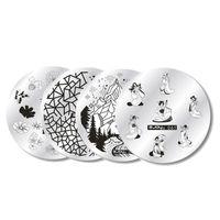 1 pz Zjoys in acciaio inox rotonda Nail Art Timbro di immagine che timbra i piatti Manicure Template Stencil Strumenti di vendita calda del chiodo