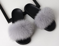 Real Fur Slippers Slides Shoes Furry Fuffly Slipper Flip Flo...