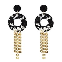 Idealway2 ألوان الموضة الاكريليك سبائك الشرابة إسقاط القرط أنيقة للنساء هدية مجوهرات