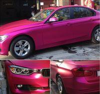 Rose Red Satin Chrome Matte Car Wrap Film With Air Release Matt Metallic Folha de vinil para envoltório do veículo Styling Car Stickers 1.52x20 meters