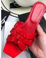 Совершенно новые женщины дань плоские сандалии обувь женщина моды тапочки подлинной лакированной кожи слайд с переплетения ремни sandalias