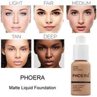 2020 New Brand Makeup Foundation Phoera Matte Oljekontral Liquid Foundation 10 Färger Concealer DHL Gratis frakt