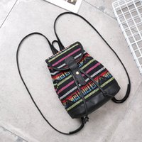 Women Fashion National wind backpack woven canvas backpack f...