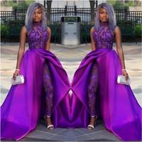 2020 pizzo appliqued perline abiti da sera abiti da sera di lusso africano donne pantaloni abiti tute classiche abiti da ballo con treno staccabile collo alto