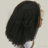 Mongolian Afro Kinky Curly Wigs Lace Front Human Hair Wigs P...