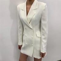 Jassen voor vrouwen Elegante witte revers Double-breasted slanke taille pak lange mouw Medium stijl jas