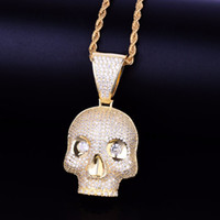 Kafatası Başkanı Kolye Kolye Altın Gümüş Renk Bling Kübik Zirkon erkek Hip hop Kolye Kaya Takı