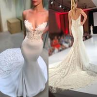 2020 vestidos de boda del tamaño de África Plus colmena del amor de la sirena vestido de novia sin espalda raso y encaje Vestidos de novia Vestidos árabe de Dubai