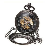 Roman Removable Chain Automatic Smooth Mechanical Classic With Hook Retro Flip Pocket Watch Hollow