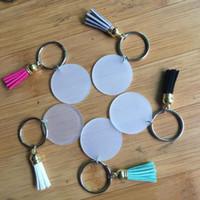 Creative 4cm disque porte-clé vierge avec 3cm Suede Tassel Vinyle Disponible Keyrings Monogrammed acrylique transparent disque Tassel Keychain LXL911Q