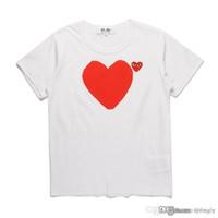 2018 COM 최고 품질 남성 여성 흰색 CommeS des 1 어머니와 아들의 심장 총 무늬 T 셔츠 흰색 M 사이즈 즉각적인 결정 F / S