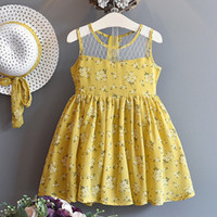 baby girl embroidered dress flower sleeveless kid floral cot...