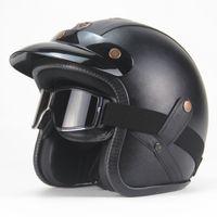 NOKTA Certificatio Retro Kask El Yapımı Kişilik Vintage Için MOTOGP Kask Motosiklet Motocross 3/4 Deri Yarım Kask Erkek Kadın S-XXL