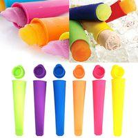 Silikon Popsicle kalıp kapaklı DIY dondurma makineleri Lolly Pop dondurma kalıp araçları renkli HHA1247