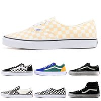 88f8d012f6 Vans Designer Shoes Authentic Old Skool sk8-hi Skool Canvas Shoes PRIMAR  CHECKERBOARD Mens Women Skate Casual Sneakers 36-44