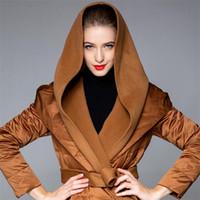 IANLAN Inverno Womens 90% Branco Duck Down Coats senhoras grande turn-down Collar Overcoats X-longo Parka com capuz com Cintura IL00422