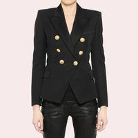 Отличное качество Стильный классический пиджак для женщин двубортный лев металлические кнопки Blazer Plus Размер S-3XL