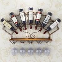 Wine Modern cremalheira do metal Suporte para 7 garrafas Wall Mounted Wine Bottle cremalheira Copos armazenamento prateleira para Whiskey Promoção Vinho Tinto