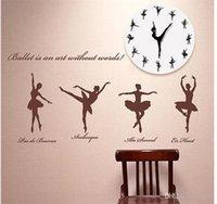 Ballet reloj de pared Relojes de chicas DIY de acrílico espejo de la sala principal Decorar Suministros creativo simple Negro Blanco 3leC1