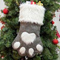 크리스마스 개 발 스타킹 양말 대형 빨간색과 회색 선물 포장 가방 축제 파티 크리스마스 트리 장식 HH9-2330