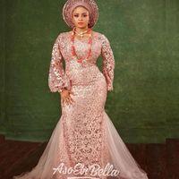Aso Ebi Mermaid Abendkleider mit langen Ärmeln 2019 Afrikanische Nigeria Plus Size Jewel Lace Applique Occasion Abendkleid