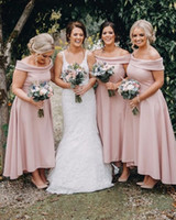 Ankle Length Pink Bridesmaid Dresses Elegant Off Shoulders H...