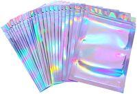 100 قطعة الأغلاق رائحة حقائب والدليل على احباط الحقيبة شقة ليزر ملونة التعبئة حقيبة للحزب لصالح تخزين المواد الغذائية المجسم اللون