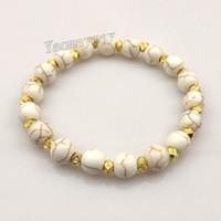 Nouveau Arriver 8mm Bracelets Turquoise Blanc Avec Or Couleur Spacer Perles Pour Les Femmes 12pcs Livraison Gratuite