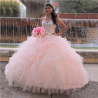 2020 nouveau rose chérie robe de bal quinceanera robes de rupes de rafrails magnifiques doux 16 robes vestidos de 15 anos girl robes de bal