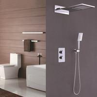 크롬 컬러 욕실 온도 조절 제어 샤워 꼭지 세트 벽 큰 폭포 레인 샤워 헤드 황동 재질 탑재