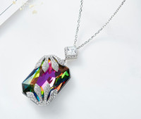 Hot Sale S925 Sterling Silver Crystal Pendant Necklace Elega...