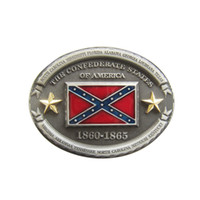Men Belt Buckle Oval American Star Flag Confederate Rebel Co...
