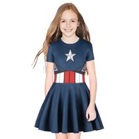 2019 new american captain flash girls abiti baby girl dress summer dress kid cartoon boutique dress