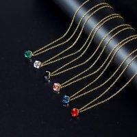 6 couleurs Collier en verre cristal carré Collier à la mode et à la mode et coloré Accessoires pour dames Gold Accessory