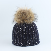 Winter Rhinestone Hats Wool Knitted Beanies Cap Real Fur Pom...