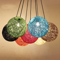 Diameter 25cm Colorful Rattan lampshade Pendant Lights Retro...
