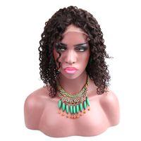 Превосходные перуанские парики для волос человека для волос человека для афро-американских женщин Глубокая вьющиеся волна REMY волосы полные кружевные парики 150%