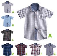 Verano niños niños camisas a cuadros mangas cortas uniformes 7 colores cheques cheques grandes adolescentes escuela clásico tops ropa caballero traje niño ropa