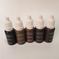 5pcs Permanent Make-up Pigment Mikropigment Tätowierfarbe 15 ml / Flasche kosmetische manuelle Augenbrauen schwarz braun Mischungsfarbe