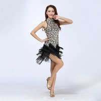 Sexy Bling Paillettes Latin Ballroom Salsa Samba Rumba Tango Robe Dance Performance Robe