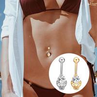 1pc rostfritt stål kropp piercing smycken kreativ skalle form belly knapp ringar zircon navel örhängen sexig navel ring piercing