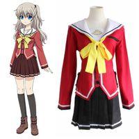 Charlotte Tomori Nao / Yusa Nishimori Okul Üniforması Cosplay Tam Set Sailor Suit (Üst + Etek + Papyon