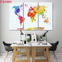 3 pcs 5D DIY Diamond Painting Watercolor World Map Cross Sti...