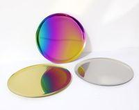 Bandeja de espejo multifunción Bandeja de almacenamiento de metal dorado Color del arco iris Plato de fruta redondo Bandejas de té Joyería Recibir
