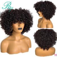 13X4% 180 Afro Kinky Kıvırcık Dantel Açık simülasyon İnsan Saç Peruk ile Bang İçin Siyah Kadın çarpmalar sentetik kısa bob Peruk PrePlucked