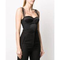 Damen-Jumpsuits Strampler 4.24 !!! Hohe Qualität Spitze Spaghetti Strap Korsett Bodysuits Patchwork Sexy Schwarz